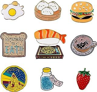 10 PCS Enamel Lapel Food Fruit Brooch Decoration   Delicious Pizza Strawberries Pin Set for Clothes Bags Jackets Hat
