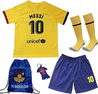 BIRDBOX Youth Sportswear Barcelona Leo Messi 10 Kids Away Soccer Jersey/Shorts Bag Keychain Football Socks Set