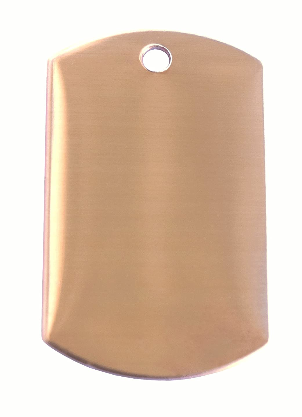 RMP Stamping Blanks, 3/4 Inch x 1-1/4 Inch Dog Tag with One Hole, Copper 0.021 Inch (24 Ga.) PVC Coating on Both Sides - 10 Pack