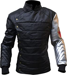 Mens Captain America Civil War Soldier Leather Jacket