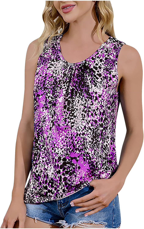 GOODTRADE8 Fashion Sexy Womens O-Neck Print Sleeveless Tank Top Ladies Vest Blouse