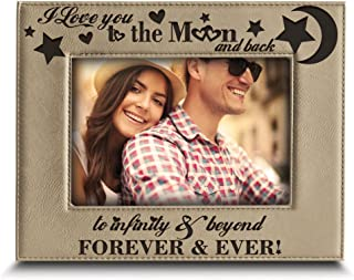 BELLA BUSTA - I Love You to The Moon and Back, to Infinity and Beyond, Forever & Ever - Engraved Leather Picture Frame (5