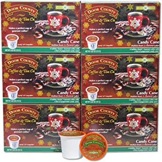 Door County Coffee, Single Serve Cups for Keurig Brewers, Candy Cane, Peppermint Flavored Coffee, Limited Time, Medium Roast, Ground Coffee, 72 Count