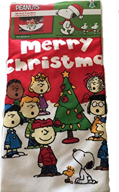 PEANUTS 48 Inch Christmas Tree Skirt Charlie Brown Snoopy and the Gang