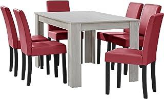 [en.casa] Table à Manger chêne Blanc avec 6 chaises Rouge foncé Cuir-synthétique rembourré140x90