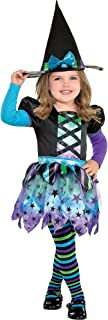 Suit Yourself Spell Caster Witch Costume for Girls, Size 2T, Includes a Colorful Dress, a Hat, and Striped Tights