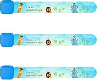 Reusable Child Safety ID Bracelets, Waterproof Adjustable Travel ID Wristbands for Kids, One Size Fits All, Blue, Pack of 3