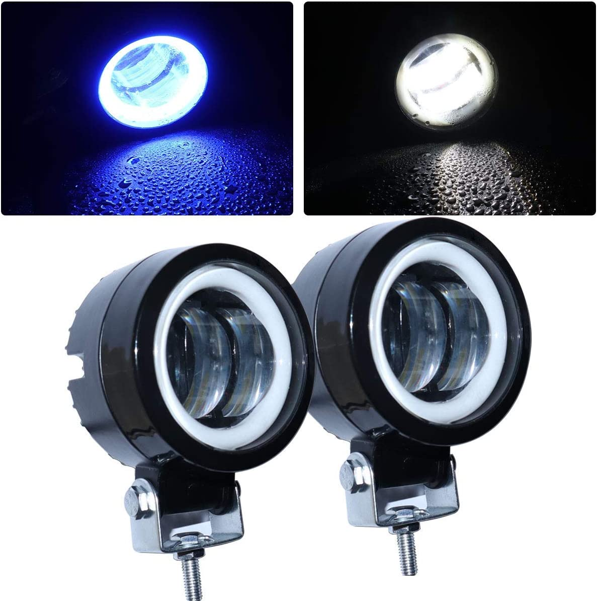 LED Fog Light for Motorcycle Lights White Falconstar Motorcycle Driving Lights 3 Inch 40W Round Headlight with Blue Angle Eye Running Light for Off Road
