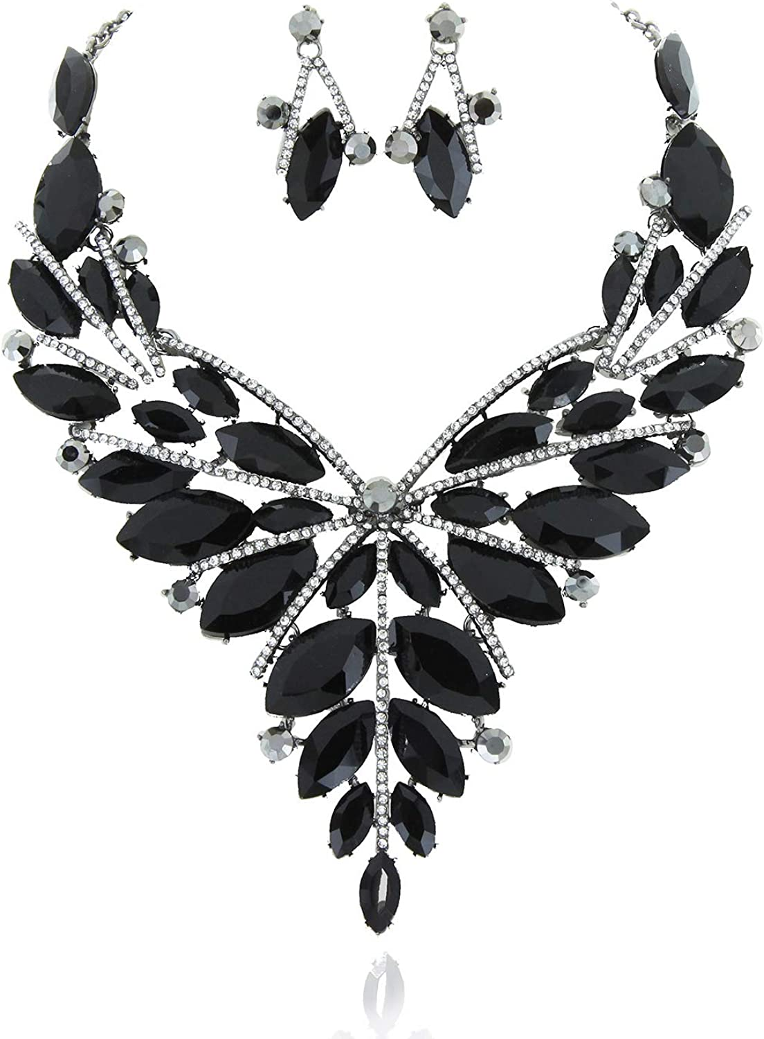 SP Sophia Collection Elegant Drop Large Butterfly Collar Austrian Crystal Rhinestone Jewelry Necklace and Stud Post Dangle Earrings Set