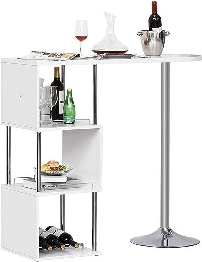 HOMCOM Bartisch Stehtisch mit Eisenrahmen ausgestattet mit Einer Anti-Kippvorrichtung abnehmbar für Küche Wohnzimmer Esszimmer, P2 Metall, MDF,…