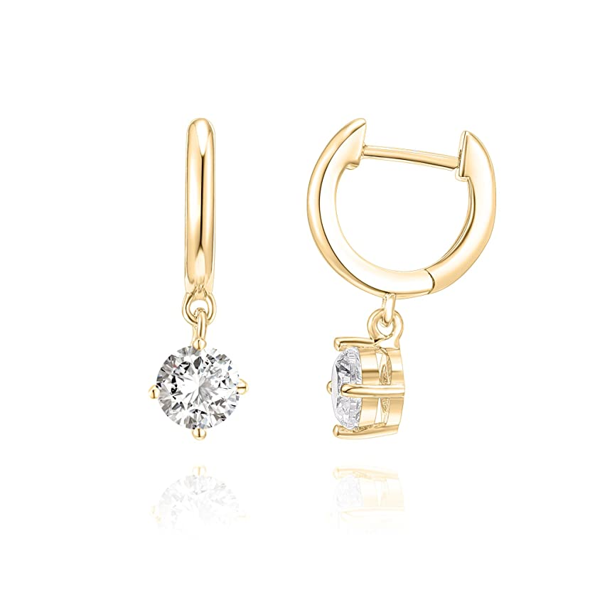 PAVOI 14K Gold Plated Sterling Silver Post Cubic Zirconia and Pearl Cuff Earrings Huggie Stud