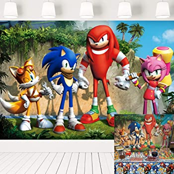 Amazon Com Eric 7x5ft Cartoon Sonic Boom Backdrop For Kids Birthday Theme Party Banner Baby Shower Photography Background Cake Table Decorations Photo Booth Props Lf095 Camera Photo