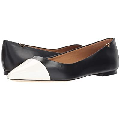 Tory Burch Penelope Cap-Toe Flat (Perfect Black/Italian Ivory) Women
