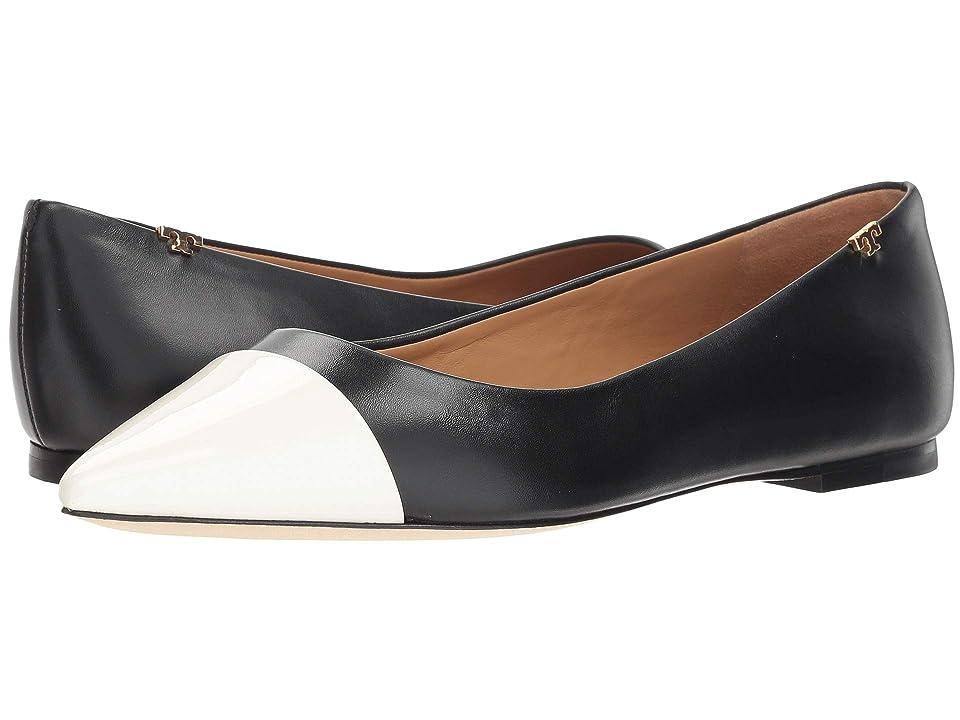 Tory Burch Penelope Cap-Toe Flat (Perfect Black/Italian Ivory) Women