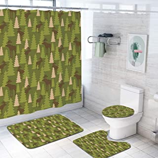 Deer 69x84 inch Shower Curtain Sets,Animals in The Forrest Mooses and Pine Trees Pattern Canada Foliage Mammal Design Toilet Pad Cover Bath Mat Shower Curtain Set 4 pcs Set,Green Tan Brown