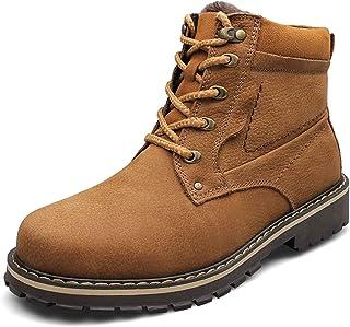 GBZLFH Bottines pour hommes de grande taille, bottes de neige en cuir d'hiver, bottes Martin d'extérieur, chaleur antidéra...
