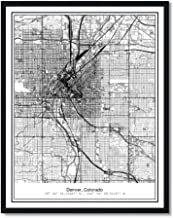 Susie Arts 11X14 Unframed Denver Colorado Metropolitan City View Abstract Street Map Art Print Poster Wall Decor V226