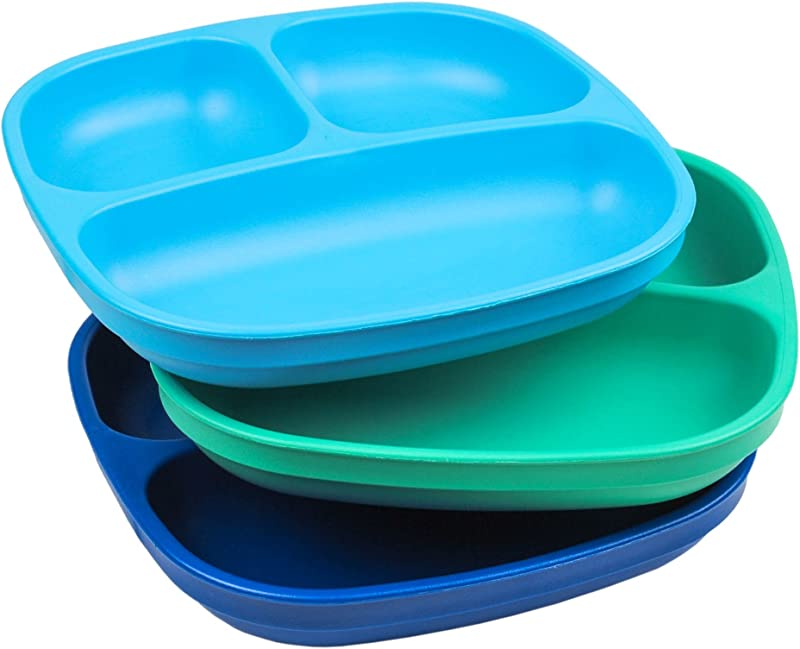 Re Play Made In USA 3pk 7 37 Divided Plates With Deep Sides For Baby Toddler Child Mealtime Sky Blue Aqua Navy Blue Eco Friendly Heavyweight Recycled HDPE Are Virtually Indestructible