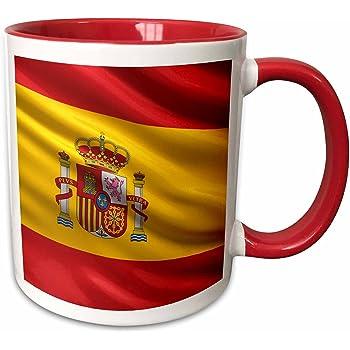 3dRose 173558_5 - Taza de cerámica, diseño de bandera de España, color rojo y blanco: Amazon.es: Hogar