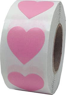 Pink Heart Stickers for Valentine's Day Crafting Scrapbooking 3/4 Inch 500 Adhesive Stickers