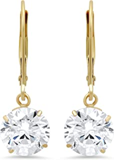 8dc2bc6df 14k Yellow or White Gold Leverback Earrings with Cubic Zirconia CZ Dangles  | Various Sizes