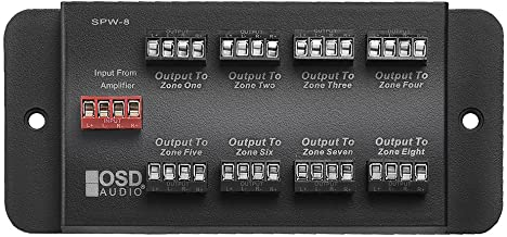 SPW8 Whole House Audio 8-Zone Speaker Distribution Panel Single Audio Input 300W Per Channel - OSD Audio