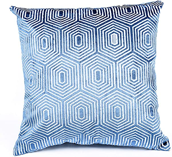 NuvoLe Home Modern Velvet Decorative Throw Pillow Cover Double Sides Patterned Soft Cozy Square Couch Cushion Pillow Case 18x18 Inch Cover Only