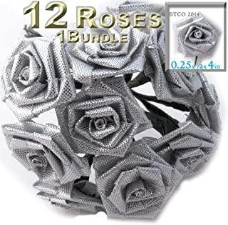 The Crafts Outlet One Bundle 12 Handmade Folded Ribbon Roses, 0.25-inch Wide Rose 4-inch Long Wire stem, Silver Metallic