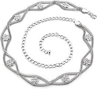 Damen 4 Reihen Perle Kristall Gürtelschnalle Elastische Taille Korsett