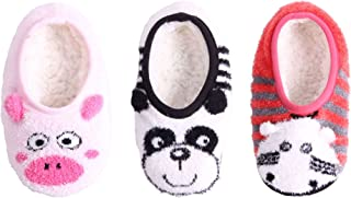 Kid/Youth Warm Microfiber Travel Animal Cozy Fuzzy Slippers Non-Slip Lined Socks/Shoes, 3 Pairs