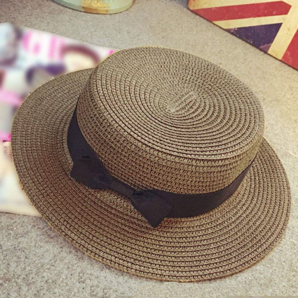 SIN vimklo Caps,Unisex Gangster Cap Beach Sun Straw Bow Flat Top Hat Sun Hats