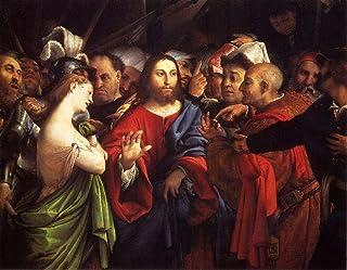 Singing Palette 23 Dipinti Famosi - €40-€1500 Pittura a Olio a Mano da pittori accademici - Cristo e Adulteress Lorenzo Lo...