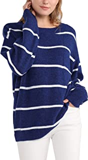 Woolicity Women's Striped Sweater Oversized Long Sleeve Color Block Crewneck Knit Pullover Cozy Lightweight Tops