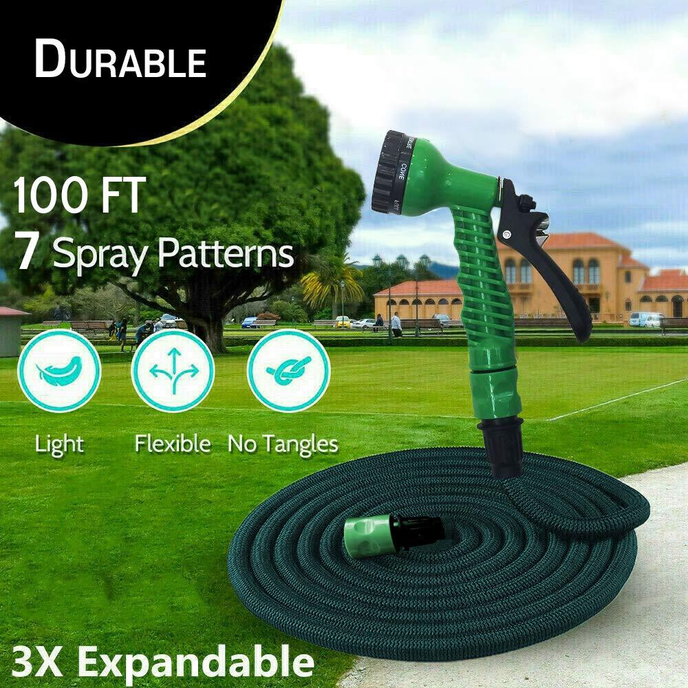 The Green Garden Manguera de Agua expansible para jardín de 100 pies/3 Veces expandible, Flexible, Ligera, con Pistola de 7 Funciones y Hebilla de Aluminio/antifugas, Ligera, fácil Almacenamiento: Amazon.es: Jardín