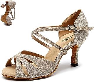 Vrouw Latin Dansschoenen Rood Zwart voor Meisjes Glitter Hoge Heel Salsa Bachata Dansende Schoenen Dames Zachte Ballroom D...