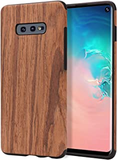 Lontect for Galaxy S10e Case Slim Matte Shock Absorbing Flex TPU Non Slip Wood Tactile Extra Grip Rubber Bumper Case Cover for Samsung Galaxy S10e, Rosewood