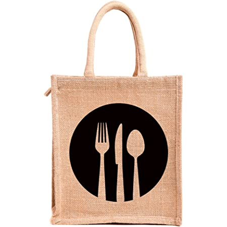 H&B Jute bags for lunch for men | Jute bags with zip | Jute Tote Bag | Jute Tiffin Bags | Printed Jute Bag | jute carry bag | Jute bag medium size (Print: Dine 3, Beige, Size: 11x9x6 Inch)