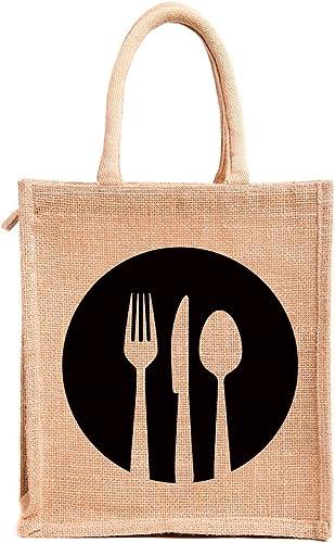 H&B Jute bags for lunch for men | Jute bags with zip | Jute Tote Bag | Jute Tiffin Bags | Printed Jute Bag | jute car...