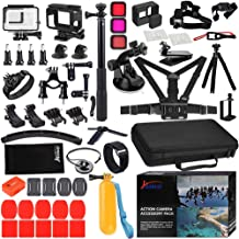 Husiway 68-in-1 Accessory Kit for GoPro Hero 7 6 5 Black GoPro7 Action Camera Filter Frame Waterproof Housing Case Bundle 60A