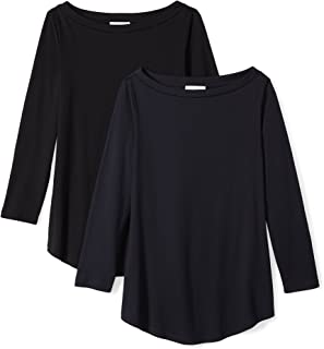 Amazon Brand - Daily Ritual Women's Lightweight 100% Supima Cotton 3/4-Sleeve Boat Neck T-Shirt