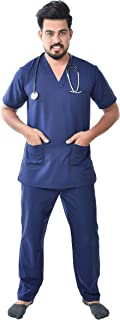 FRENCH TERRAIN Unisex Polyester Viscose V-Neck Scrub Suit Top and Bottom with 3 Pockets OT Dress Set (Medium, Navy Blue)