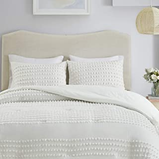 Comfort Spaces Phillips Comforter Reversible 100% Cotton Face Jacquard Tufted Chenille Dots Ultra-Soft Overfilled Down Alternative Hypoallergenic All Season Bedding-Set, Full/Queen, Ivory