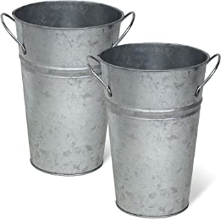 Arbor Lane Rustic Metal Flower Vase - 8 Inches Tall - French Bucket - Farmhouse Style - Set of 2 - (Silver)