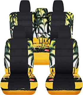 Totally Covers compatible with 2018-2020 Jeep Wrangler JL Hawaiian & Black Seat Covers: Yellow w Palm Tree - Full Set: Fro...