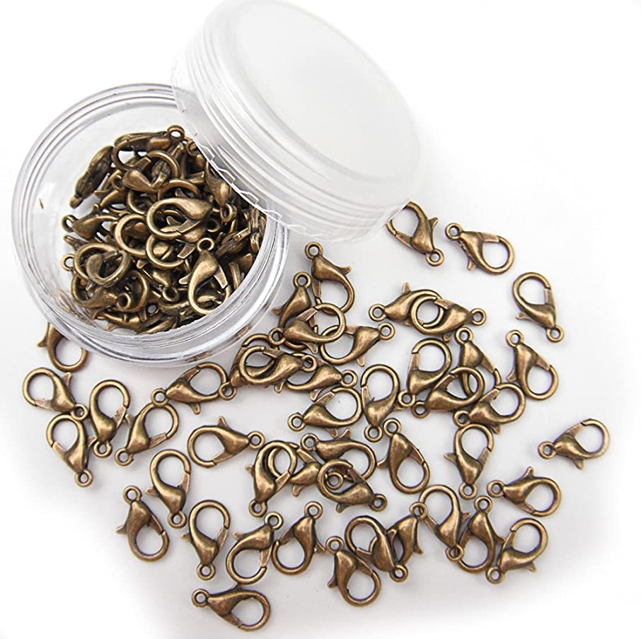 ALL in ONE 12x6mm 30g/100pcs Antique Bronze Plated Lobster Claw Clasps with 15 Gram Storage Box (Antique Bronze)