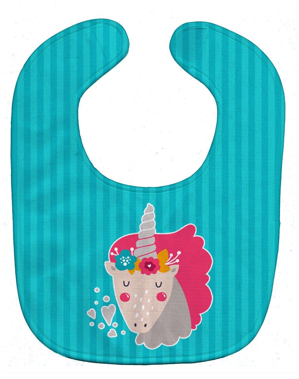 Caroline's Treasures BB7140BIB Unicorn Blue Stripes SALENEW very popular! 10 Bib At the price Baby