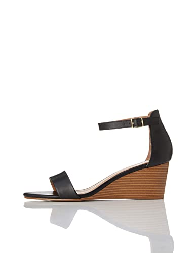 Amazon-Marke: find. Wedge Leather Damen Peeptoe Sandalen