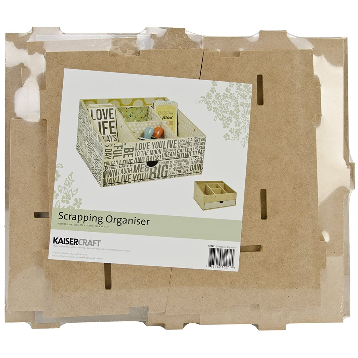 Kaisercraft SB2271 Beyond The Page MDF Scrapping Organizer, 11.5 by 9.75 by 6.5-Inch