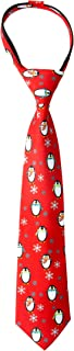 Spring Notion Boy's Printed Microfiber Christmas Theme Pretied Zipper Tie, Small Round Penguins