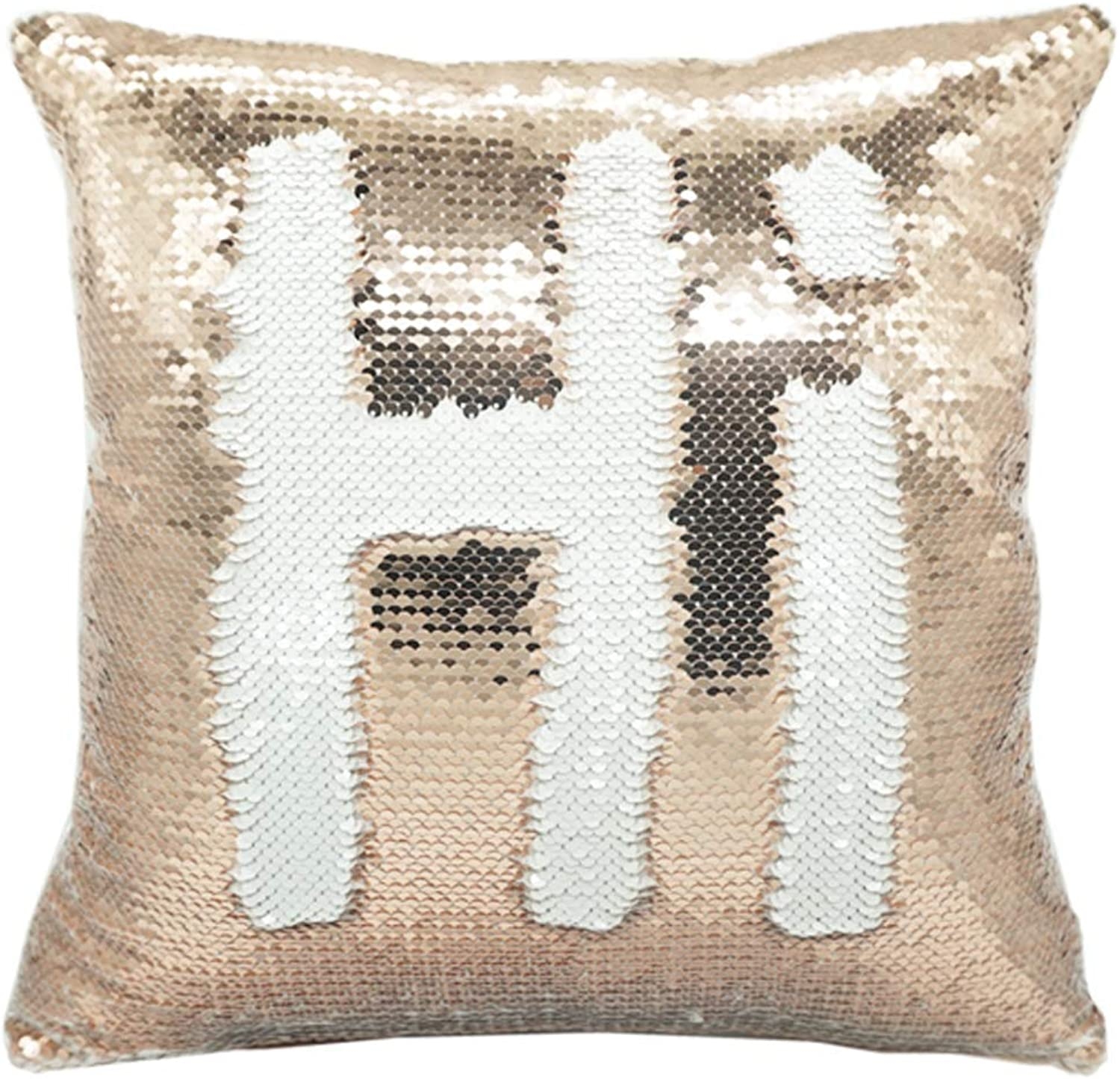 Sublimation Blank Pillow Covers 16inx16in Reversible Sequin Magic Swipe Pillow Cases Cushion Cover 10pcs (Champagne)